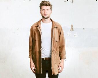 Vintage Men's Coat . Vintage 80s Leather Jacket Brown Parka Coat Outerwear Jacket . size Small