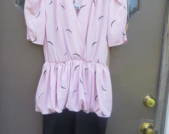 70's Retro Pink & Black Knit Dress bubble peplum   by Lucky Barbara, Size 7  Vintage 70's