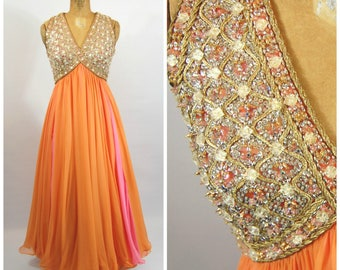 1960s Heavily Beaded Chiffon Gown - Pink and Orange Gown - Jewel Encrusted Dress prom