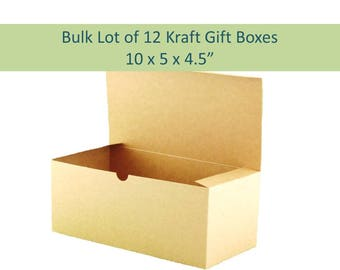 12 Kraft Gift Boxes - 10  x 5  Natural Brown Boxes for Rustic Wedding  sc 1 st  Etsy & Kraft gift box | Etsy Aboutintivar.Com