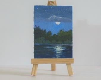 Miniature moon painting, original acrylic aceo, nocturne, landscape painting