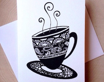 Tea Cup Card, 5 x 7 Black and White Illustrated Blank Card, Tea Time Card, Birthday Card, Gift for Women, Gift for Her, Tea Lover Gift