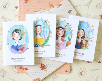 Beautiful Girl Mini cartoon notebook