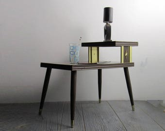 Atomic - Vintage - Mid Century - End Table - Two Tier Lamp Table - Accent Table - Atomic Ranch House