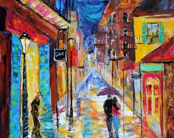 New Orleans Print on canvas made from image of past oil painting by Karen Tarlton - Starry Night Moon Romance in many Sizes