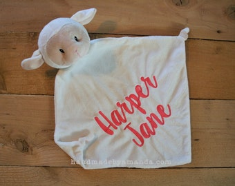White Lamb Minky Blanket - Monogrammed Lamb Blankie - Monogram Baby Gift - Security Blanket