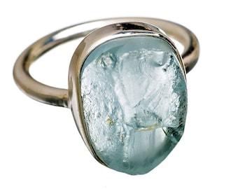 Aquamarine Ring Raw Rough Freeform Oval Aquamarine Nugget Ring Natural Genuine Aquamarine Ring in Solid Sterling Silver Size 6