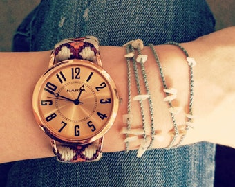 Rose Gold Watch - Nori Watch with X-Large Face and Embroidered Band