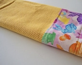 EASTER Kitchen Dish Towel - Yellow Kitchen Towel - Fabric Trimmed Hand Towel - Tea Towel - Jello Easter Bunny Towel - Watercolor Bunnies