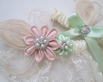 Blush & Mint Wedding Garter Set, Peacock Garters, Ivory Lace Garter w/ Mint Green Flower, Rustic Garters, Burlap- Lace Garters Country Bride