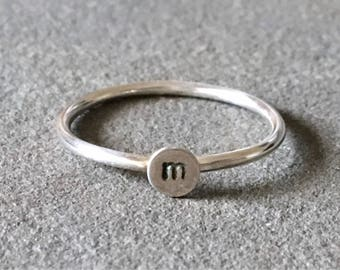 Personalized Initial Stacking Ring, Stackable Mother's Ring, Custom Ring, Stacking Ring, Gift for New Moms, Punctuation Ring, Number Ring