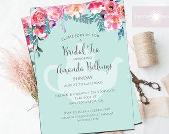 Bridal Tea Party Invitation, Bridal Shower Invite, Bridal Brunch, High Tea Invite, Floral, Teal, Tea Pot Invite, Printable, jadorepaperie