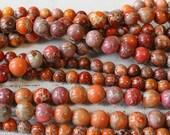 6mm, 8mm Round Impression Jasper Beads - Jewelry Making Supply - Orangey Red - CHOOSE AMOUNT