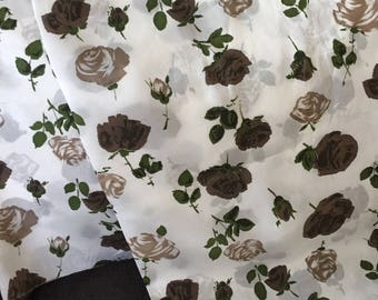 Vintage Brown Rose Silky Fabric