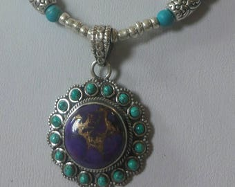 Small but powerful Natural Stone Copper Turquoise and silver necklace