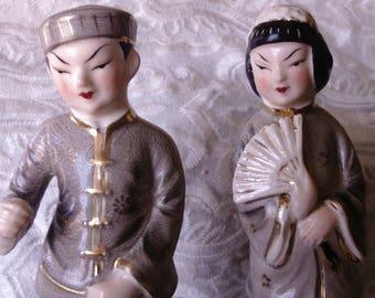 Japanese Couple Figurine, Occupied Japan, Asian Man and Woman Figurine, Porcelain Ceramic Figurine, Collectible
