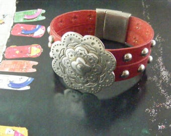 Red Leather Studded Bracelet with Metal Details