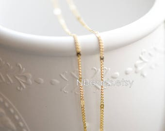 Tiny Gold plated Brass Chains 1.8mm Thin (#GB-128)/ 1 Meter=3.3 ft