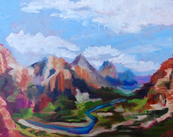 Modern Impressionist Zion National Park Utah Landscape Original Oil Painting by Rebecca Croft