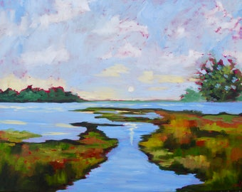 18 x 24 Large Modern Impressionist Marsh Sunset Original Oil South Carolina Landscape by Rebecca Croft