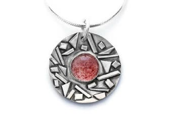 Strawberry Quartz and Sterling Silver Pendant Necklace, Strawberry Quartz Pendant, Gemstone Necklace, Pink Quartz Pendant