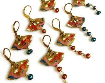 Fan Earrings, Oriental Statement Earrings,  Freshwater Pearl Drop Earrings, Phoenix Earrings