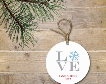 Personalized Christmas Ornament, Newlywed Christmas Ornament,  Bride and GroomOrnament, Love, New Couple, Bridal Shower Gift