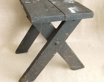 Vintage Primitive Wooden Stool, Side Table, Chippy, Seating, Camp Bench, Picnic Table, Cabin Decor, Lodge Decor, Rustic, Extra Seating