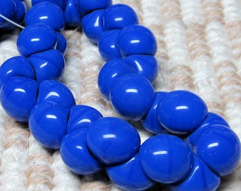 Czech Glass Beads 9 X 8mm Smooth Shiny Royal Blue Buttons - 30 Pieces