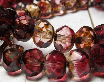 Czech Glass Beads 9 x 6mm Designer Semi Transparent and Burgundy Red Faceted Rondelles - 25 Pieces