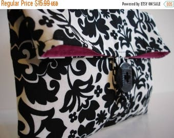 ON SALE Ready To Ship Black and Ivory Damask  Makeup Bag Clutch Hot Pink Interior