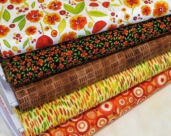 Five Orange, Yellow, Green, Black and White Fabrics for Sale, 100% Cotton Quilt Fabric Bundle, Wild by Nature by Maywood Studio, Fat Quarter