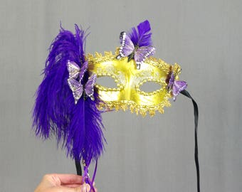 Butterfly Mask, Gold and Purple Mask, Masquerade Mask, Halloween Mask, Mardi Gras Mask, Gold Mask