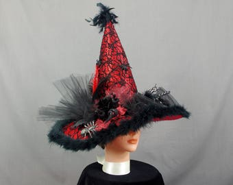 Black and Red Witch Hat, Halloween Witch Hat, Decorated Witch Hat, Halloween Costume, Witch Costume, Halloween Decoration