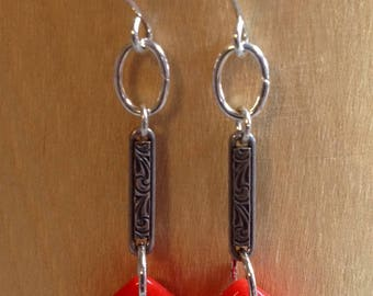 Artisan earrings with kite shaped wires and Vintage findings.