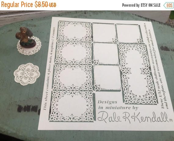 ON SALE Miniature Placemats, Napkins & Runner, Laser Cut Paper Set, Dollhouse Miniatures, 1:12 Scale, Dollhouse Accessories, Dollhouse Decor