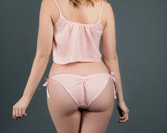 Pink Satin Panties- Side Tie Bikini Panties- Silk Feel- Color Options-New