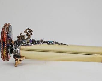 8.5 inch long Brass Kaleidoscope with dragon Titanium crystals gems metal collection collectors  Darlene Musser wedding graduation sculpture