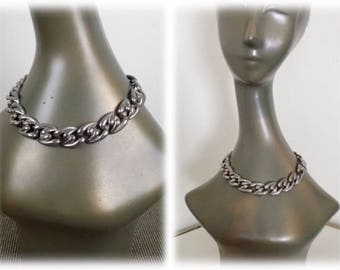 Vintage Modernist Silver Link Necklace - Sensual Silver Tone Retro Metal Costume Jewelry - Taxco Style Silver