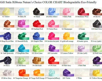 Gift Satin Ribbons 1/2 inch (12 mm) width, many colors non-fray cut edge 30 ft (10 yd) Nature's Choice Bio Degradable Ribbon made in England
