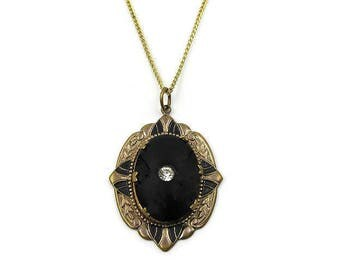 Victorian Revival Onyx Glass Rhinestone Enamel Pendant Necklace - Taille D'Epargne, Vintage Necklace, Vintage Jewelry