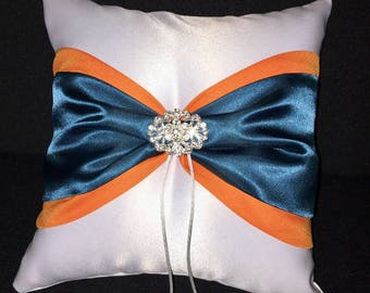 Orange & Teal Blue with Rhinestone Accent White or Ivory  Wedding Ring Bearer Pillow