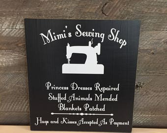 Mother's Day Gift For Grandma ~ Mimi Gift ~ Sewing Room Sign ~ Gifts For Grandma ~ Mimi's Sewing Shop Custom Wood Sign ~ Gifts For Mimi
