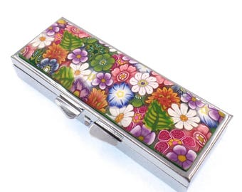 Polymer Clay Covered Pill Case with 3 Compartments, Flowers, Pill Box