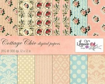 65%OFF SALE Shabby vintage digital papers featuring vintage damask and shabby rose patterns, vintage scrapbook paper, cottage chic decor P12