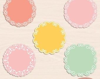 65%OFF SALE Doily frames and labels clip art, digital frames, lace frames clipart, lace frame, doily frame, photo frame, PSD templates, F320