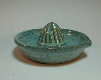 Small Handmade Carved Citrus Juicer with pour Spout in Blue Green - Handmade - In Stock