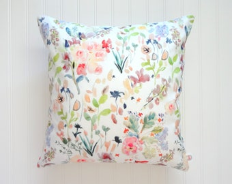 Botanical Mix No2 Watercolor Floral Pillow Covers, Designer Fabric, 18x18, 20x20, 14x20, 12x21
