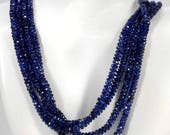 ON SALE Kyanite Beads Faceted Rondelles Roundels Rondels Deep Blue Earth Mined Semi Precious Stone - 3 to 4.5mm - Your Choice of Length