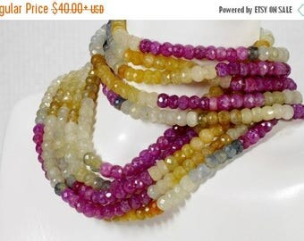 ON SALE Sapphire Beads Rondelles Faceted Multicolor Grey Raspberry Maroon Mined Precious Stone -  3.5 or 7-Inch Strands - 4.5 to 4.9mm